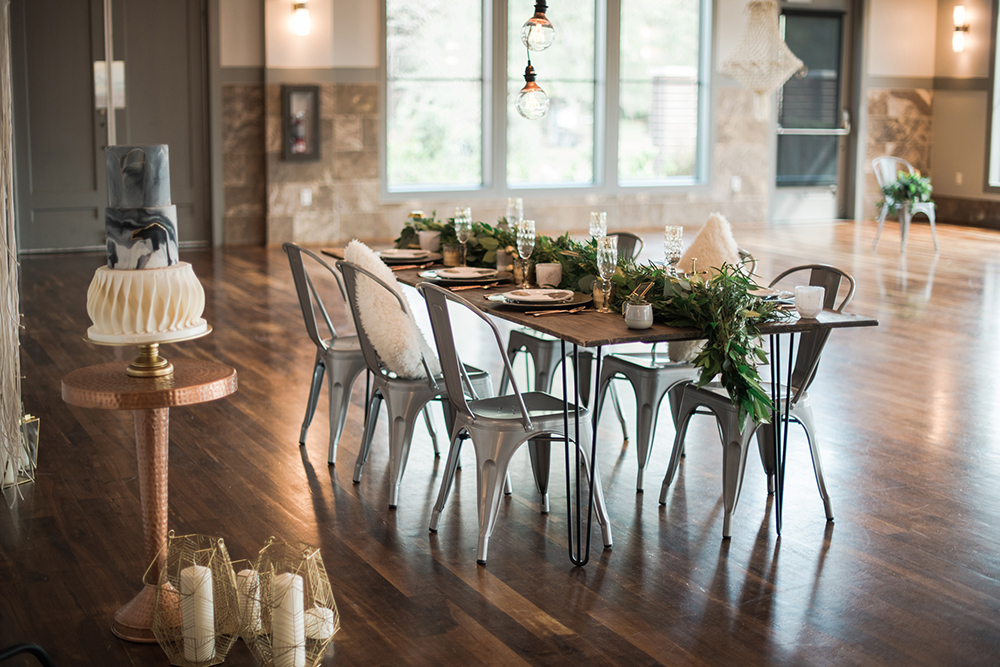 industrial wedding ideas - photo by Kristen Weaver Photography http://ruffledblog.com/modern-organic-wedding-inspiration-with-greenery