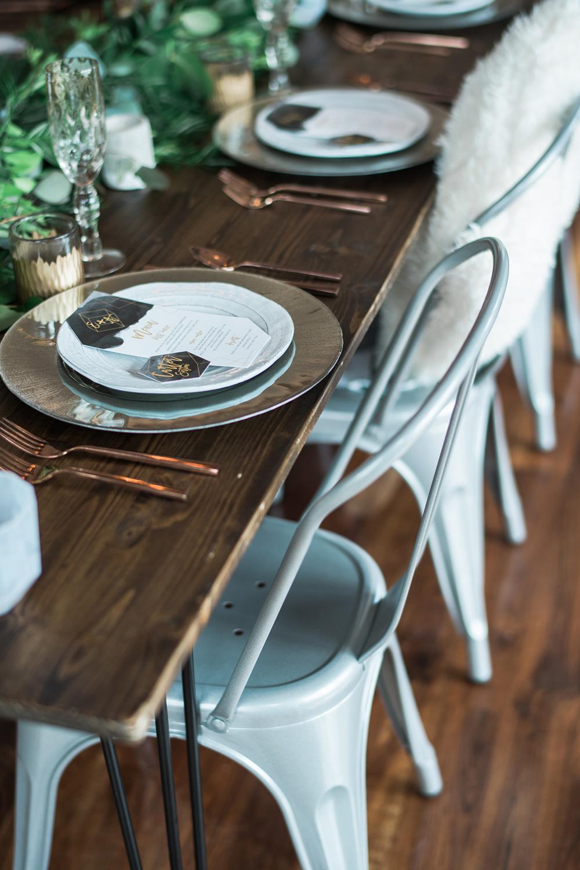 modern tablescapes - photo by Kristen Weaver Photography http://ruffledblog.com/modern-organic-wedding-inspiration-with-greenery