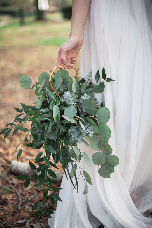 unique eucalyptus bouquets - photo by Kristen Weaver Photography http://ruffledblog.com/modern-organic-wedding-inspiration-with-greenery