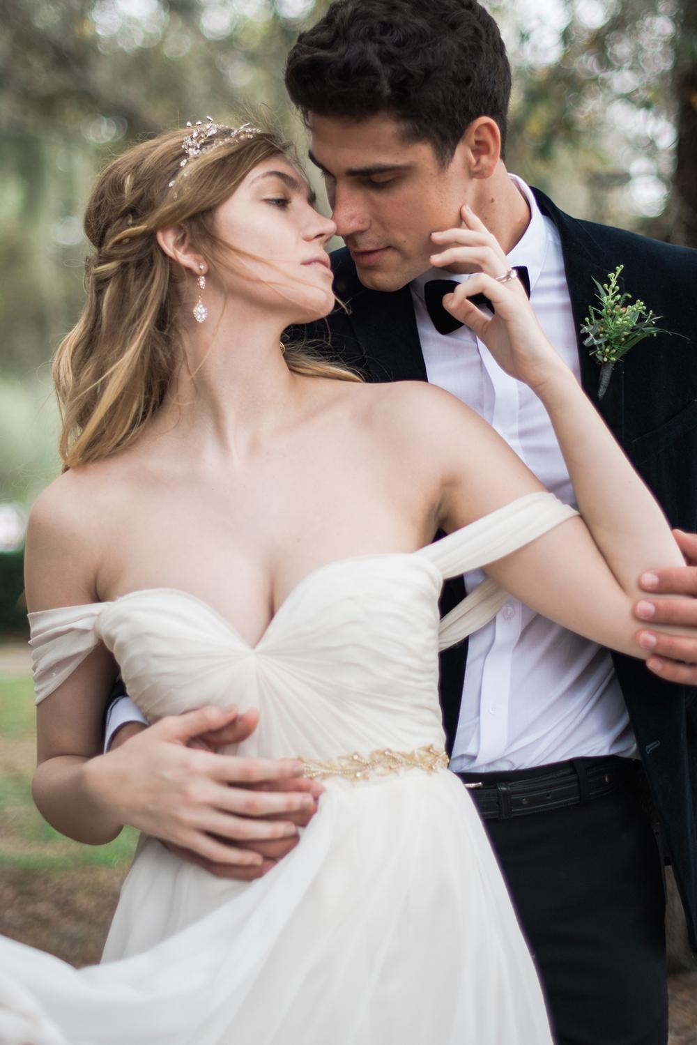 romantic wedding dresses - photo by Kristen Weaver Photography http://ruffledblog.com/modern-organic-wedding-inspiration-with-greenery