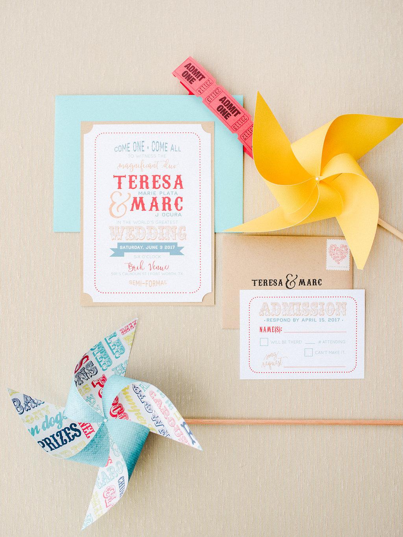carnival inspired wedding invitations - https://ruffledblog.com/modern-playful-texas-carnival-wedding