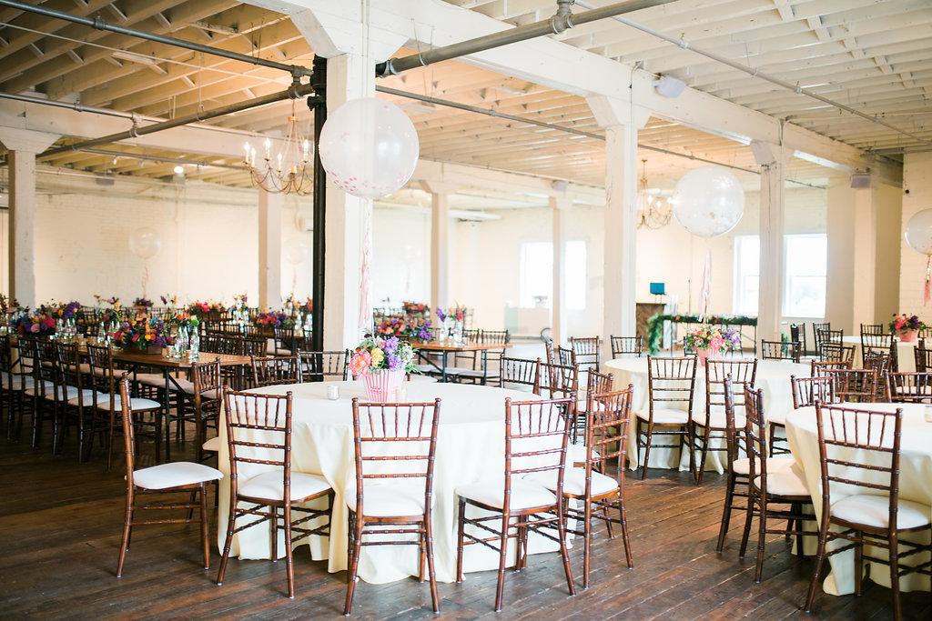 Texas weddings at Brik venue - https://ruffledblog.com/modern-playful-texas-carnival-wedding
