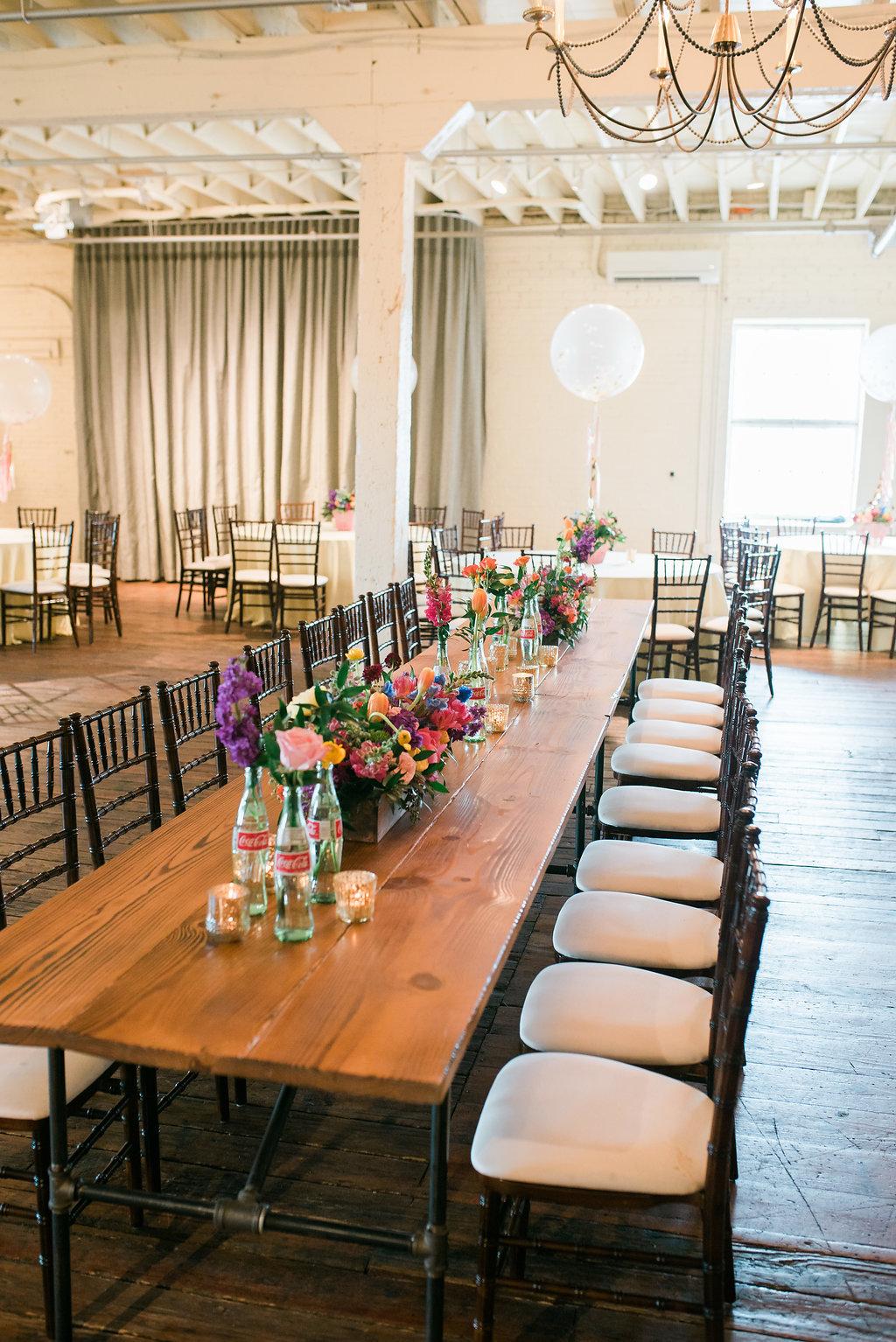 modern wedding tables - https://ruffledblog.com/modern-playful-texas-carnival-wedding