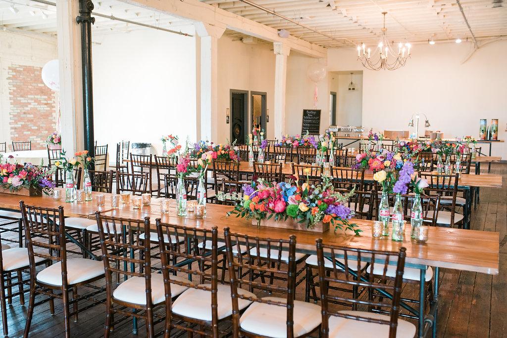 colorful modern wedding receptions - https://ruffledblog.com/modern-playful-texas-carnival-wedding