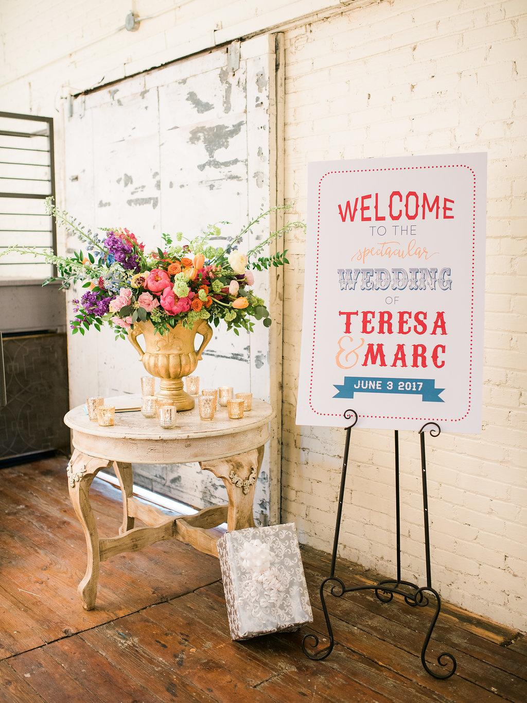 carnival themed wedding signs - https://ruffledblog.com/modern-playful-texas-carnival-wedding