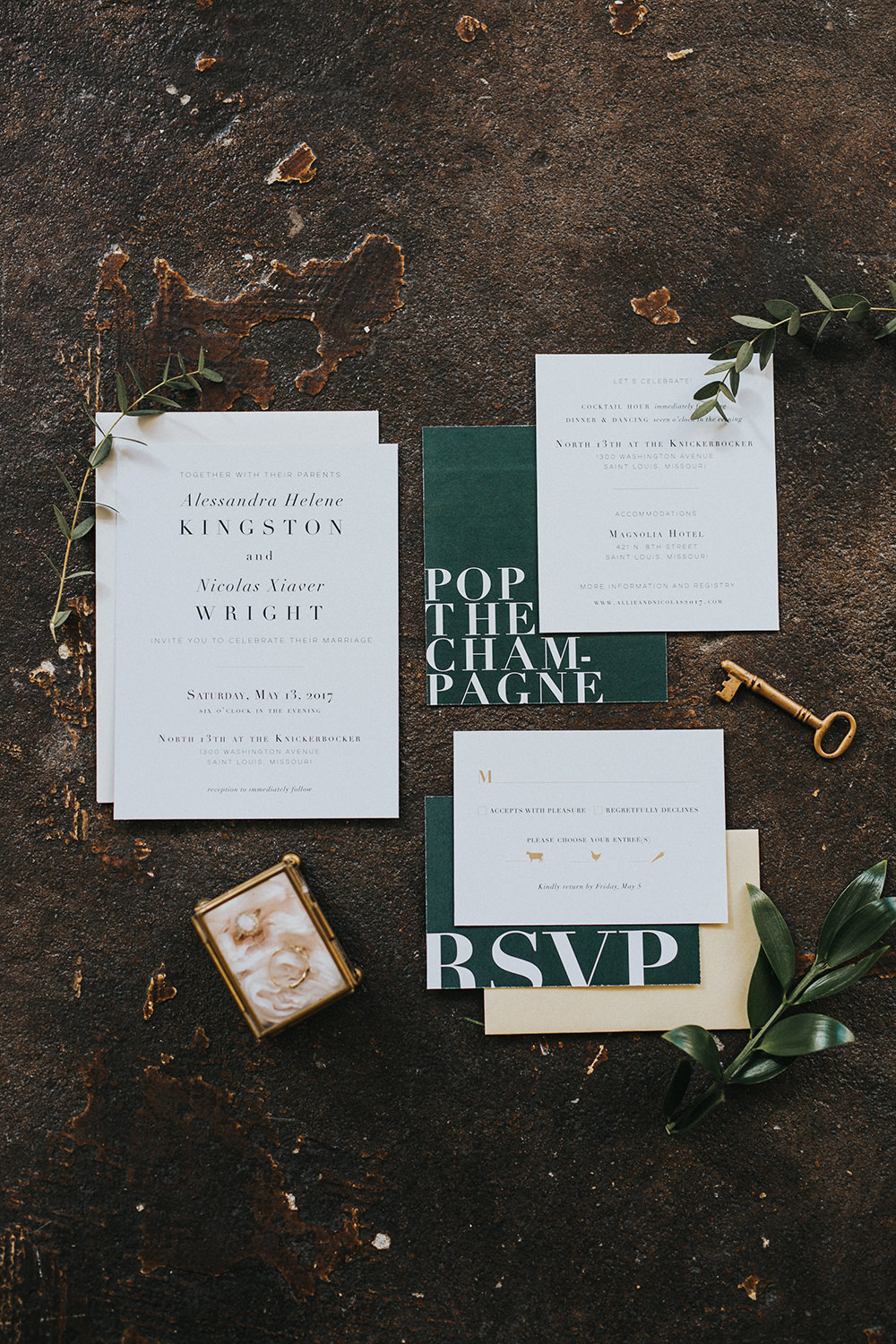 green and white wedding invitations - photo by Jacoby Photo and Design http://ruffledblog.com/modern-romantic-loft-wedding-inspiration