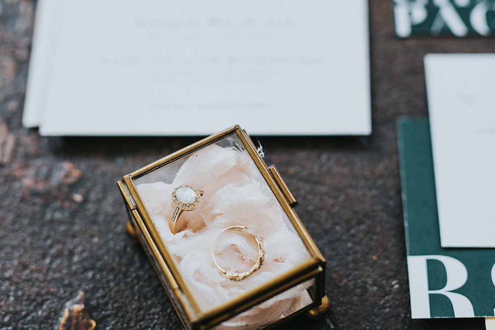 wedding rings - photo by Jacoby Photo and Design http://ruffledblog.com/modern-romantic-loft-wedding-inspiration