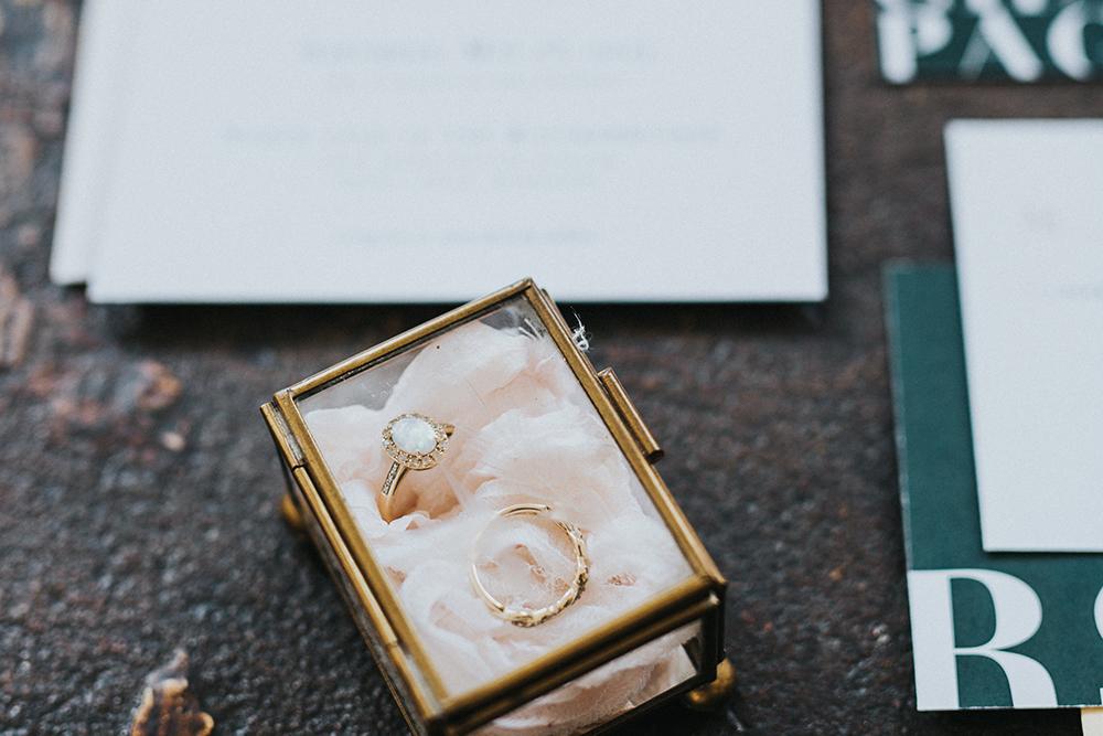 wedding rings - photo by Jacoby Photo and Design https://ruffledblog.com/modern-romantic-loft-wedding-inspiration