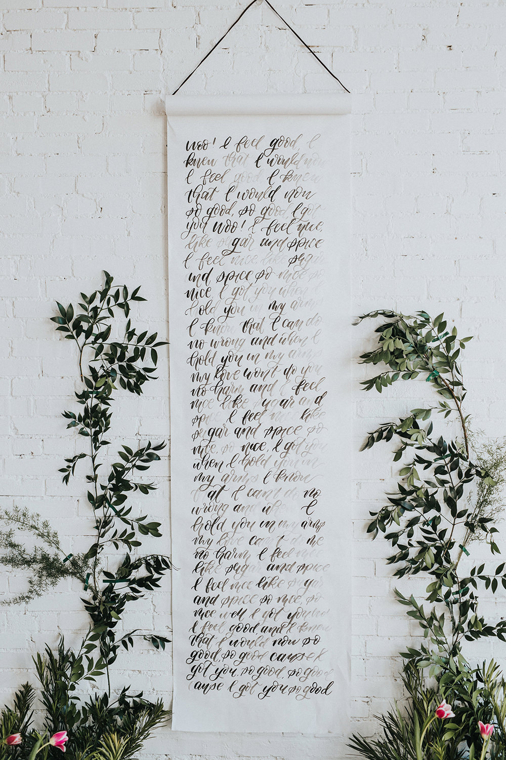 calligraphy banner backdrops - photo by Jacoby Photo and Design http://ruffledblog.com/modern-romantic-loft-wedding-inspiration