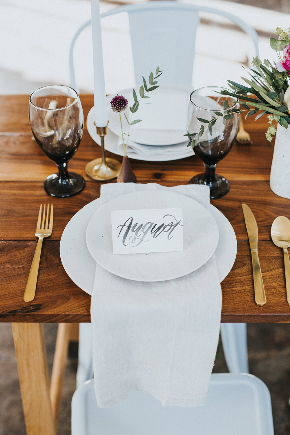 simple wedding place settings - photo by Jacoby Photo and Design http://ruffledblog.com/modern-romantic-loft-wedding-inspiration