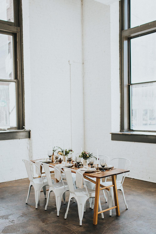 modern loft weddings - photo by Jacoby Photo and Design https://ruffledblog.com/modern-romantic-loft-wedding-inspiration