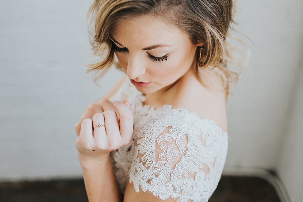 simple wedding makeup - photo by Jacoby Photo and Design http://ruffledblog.com/modern-romantic-loft-wedding-inspiration