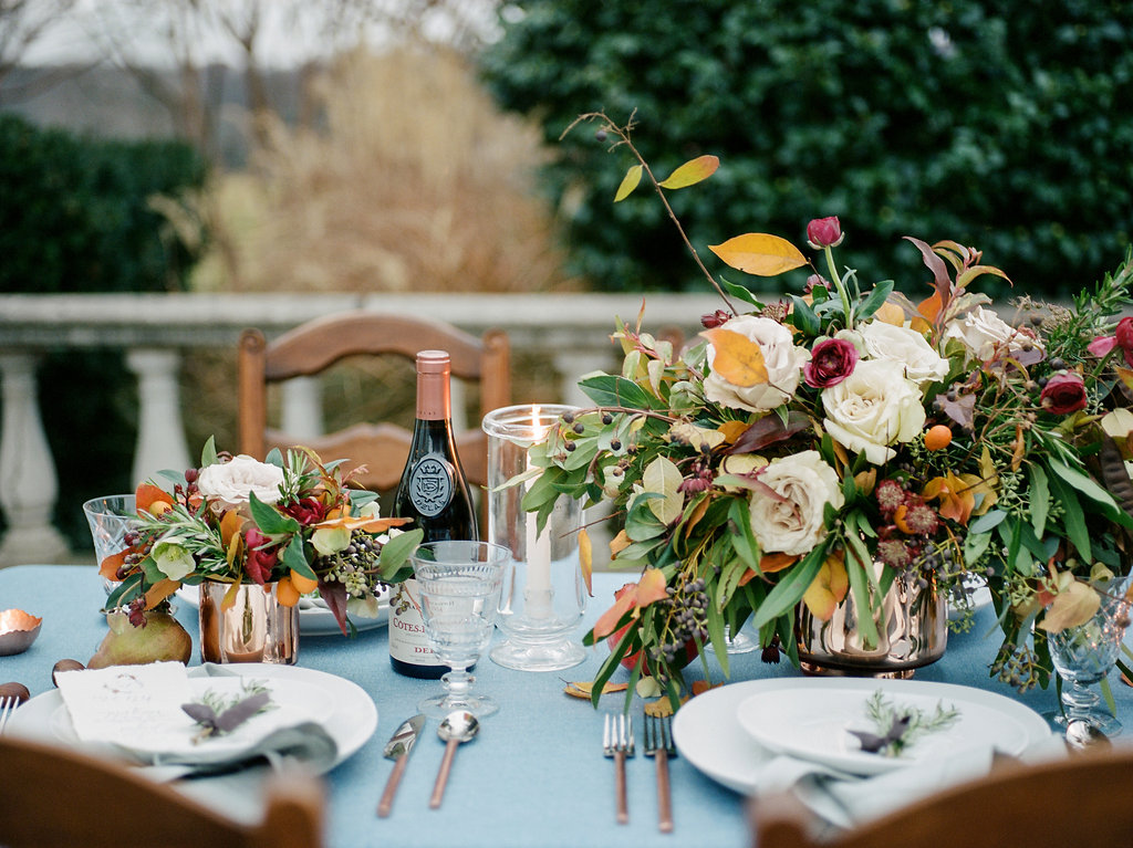 romantic tablescapes - photo by Lissa Ryan Photography http://ruffledblog.com/modern-romantic-wedding-ideas-with-family-heirlooms