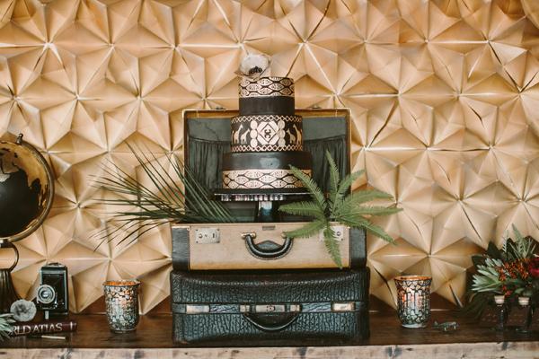 cake table - photo by Megan Saul Photography https://ruffledblog.com/modern-safari-wedding-inspiration