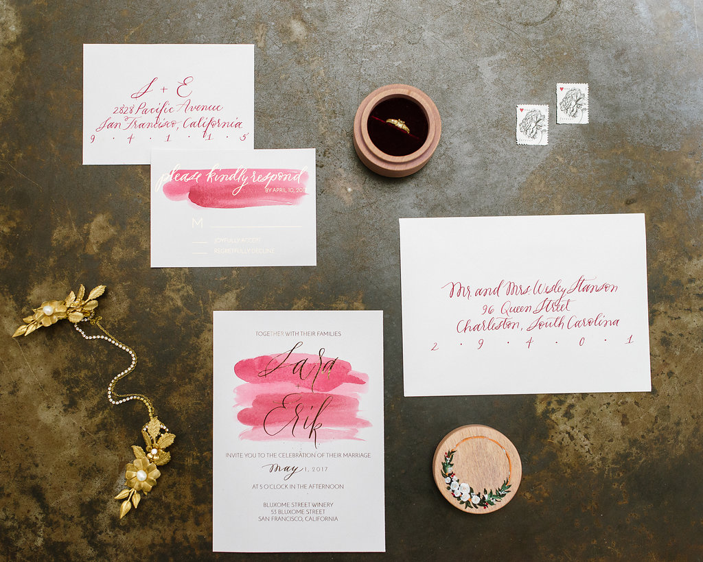 wedding stationery with pink watercolor - photo by Chelsea Dier Photography http://ruffledblog.com/modern-san-francisco-winery-elopement