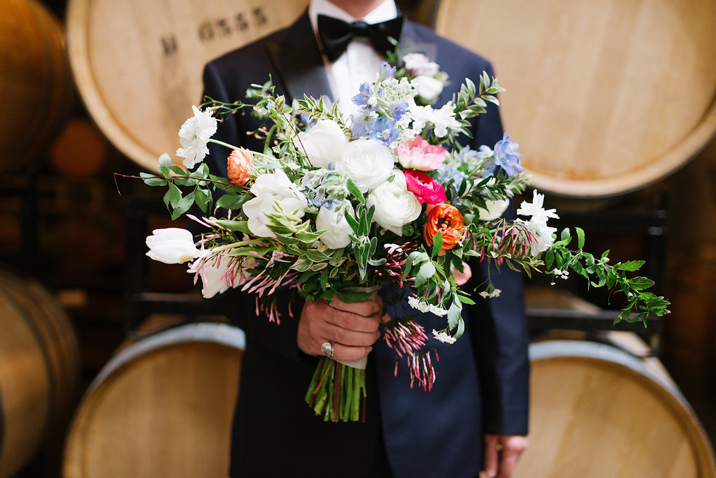 lush bouquets - photo by Chelsea Dier Photography https://ruffledblog.com/modern-san-francisco-winery-elopement