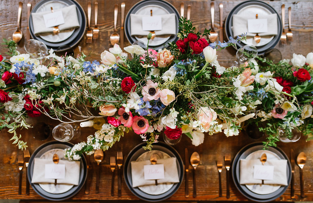 wedding centerpieces with anemones - photo by Chelsea Dier Photography https://ruffledblog.com/modern-san-francisco-winery-elopement