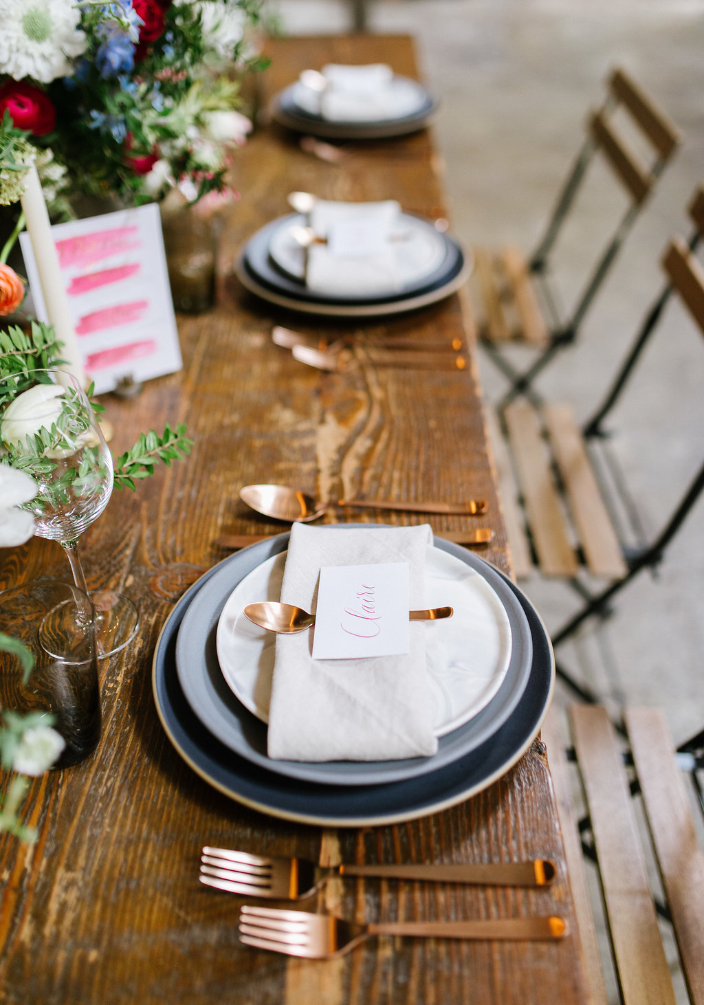 wedding tablescapes - photo by Chelsea Dier Photography http://ruffledblog.com/modern-san-francisco-winery-elopement