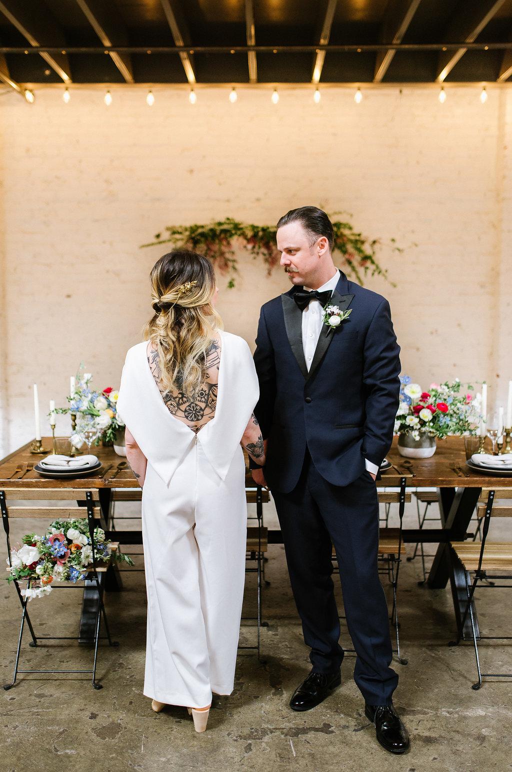 wedding jumpsuits - photo by Chelsea Dier Photography https://ruffledblog.com/modern-san-francisco-winery-elopement