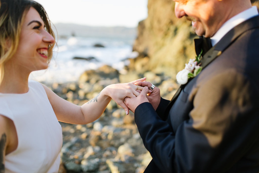 rocky beach elopements - photo by Chelsea Dier Photography https://ruffledblog.com/modern-san-francisco-winery-elopement