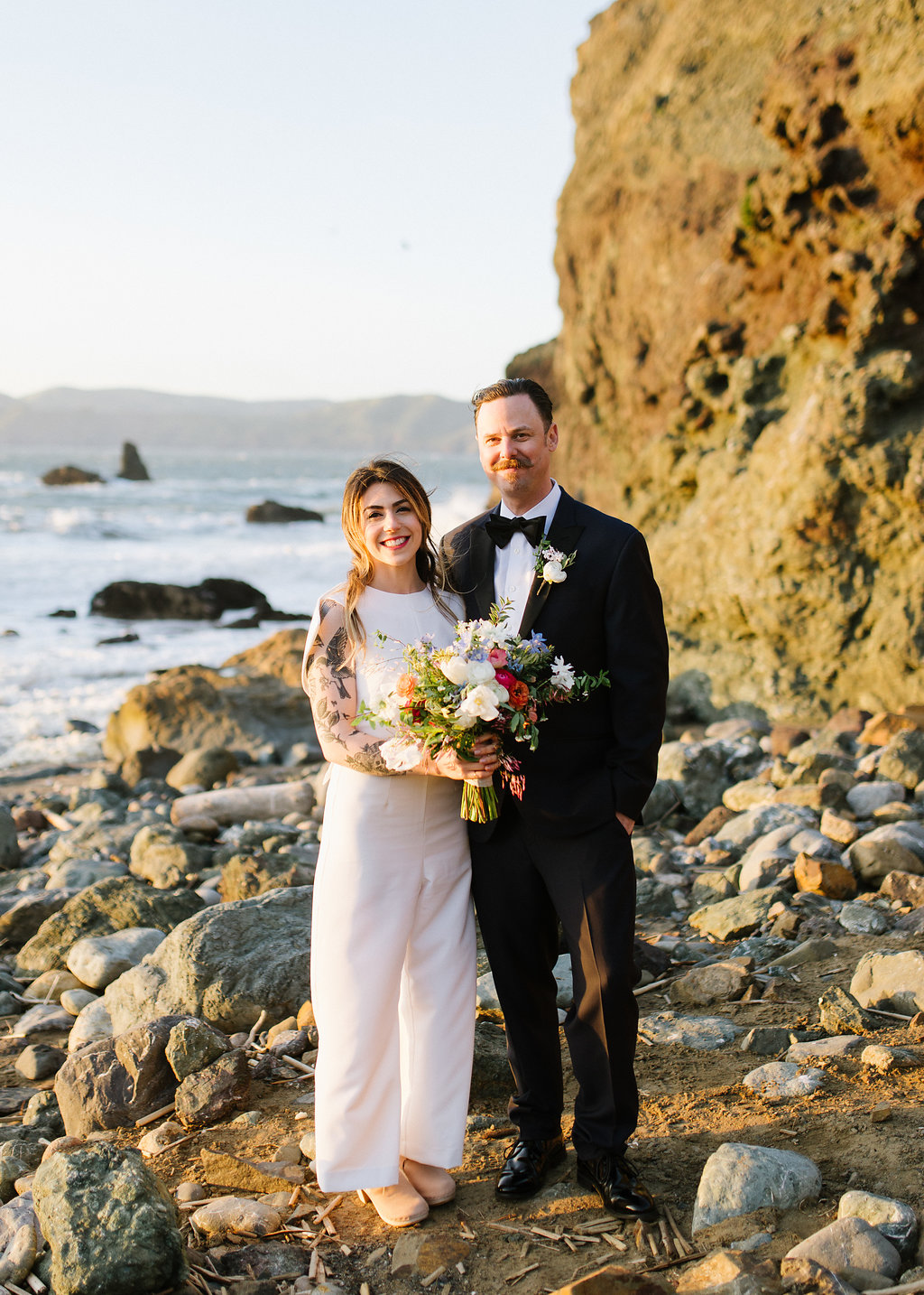 rocky beach elopements - photo by Chelsea Dier Photography http://ruffledblog.com/modern-san-francisco-winery-elopement