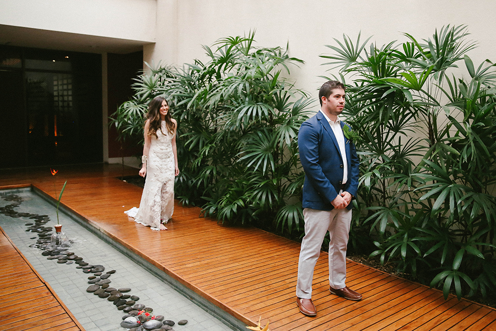 first looks - photo by W and E Photographie https://ruffledblog.com/costa-rica-destination-wedding-with-lots-of-tropical-details