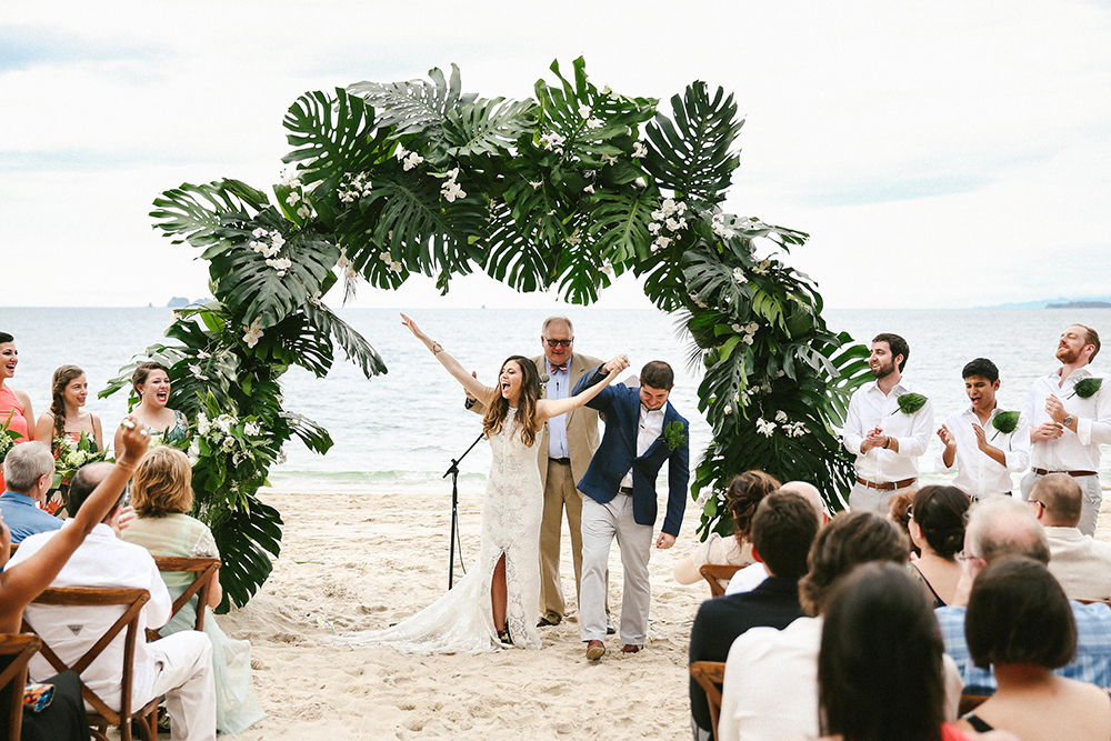 wedding ceremony recessionals - photo by W and E Photographie https://ruffledblog.com/costa-rica-destination-wedding-with-lots-of-tropical-details