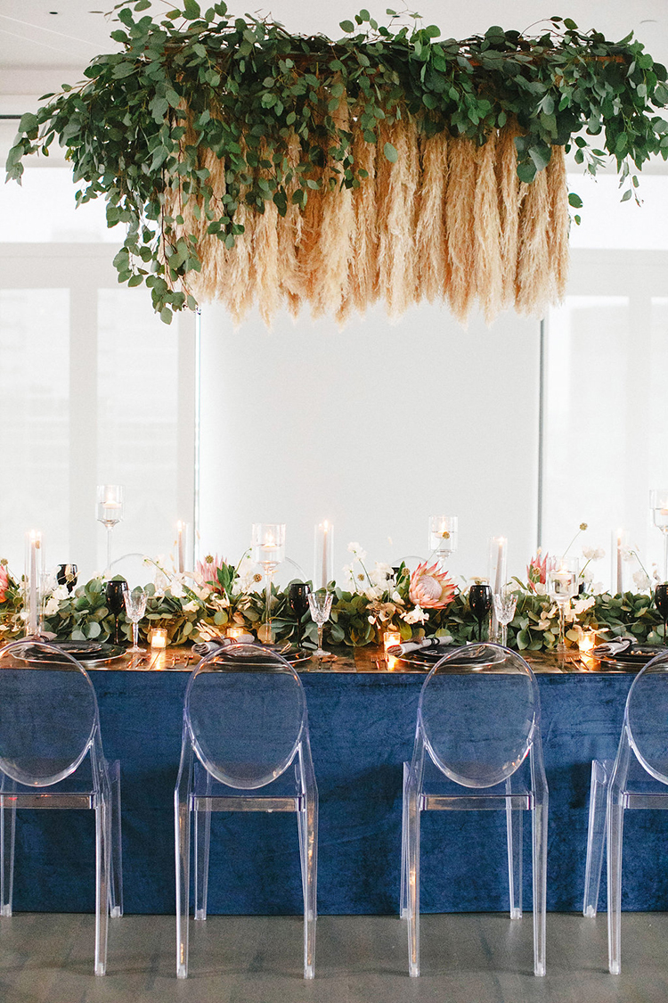 Modern Wedding Inspiration with a Pampas Grass Chandelier - photo by Leigh Miller Photography https://ruffledblog.com/modern-wedding-inspiration-with-a-pampas-grass-chandelier