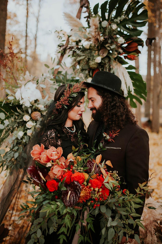 Autumn Vow Renewal With A Midnight Black Dress #blackweddingdresses #forestelopementideas #fallweddingdecor
