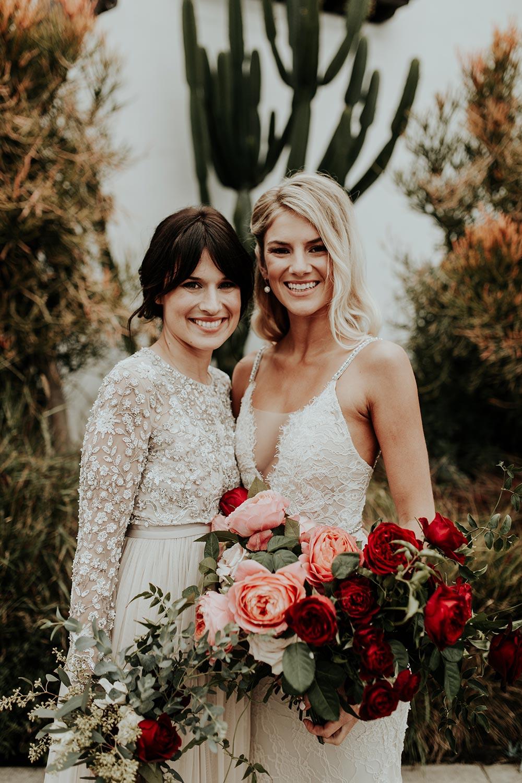 bride and maid of honor boho wedding fashion