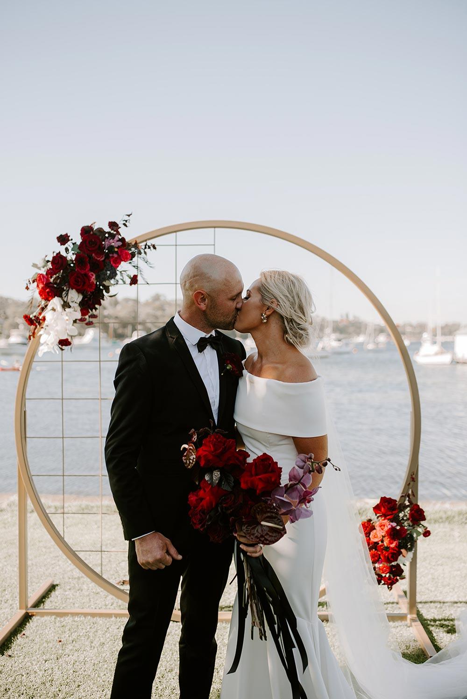 modern wedding fashion with circular backdrop