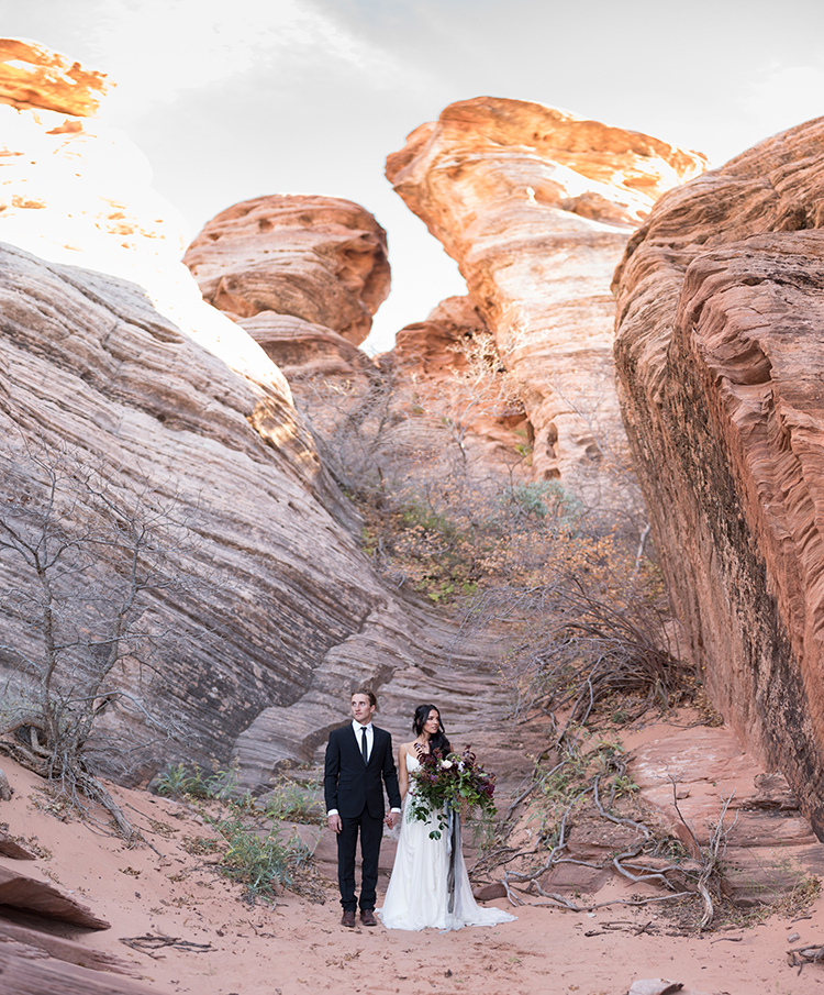 Moody Romantic Zion National Park Wedding Ideas - photo by Courtney Hanson Photography http://ruffledblog.com/moody-romantic-zion-national-park-wedding-ideas