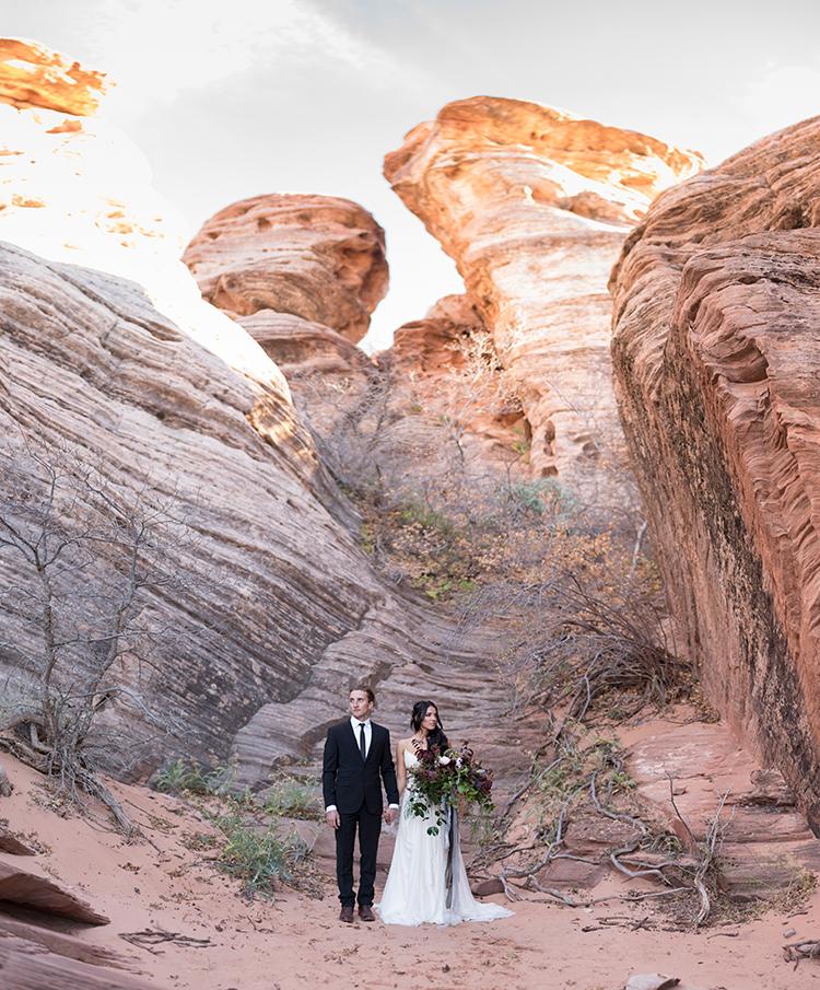 Moody Romantic Zion National Park Wedding Ideas - photo by Courtney Hanson Photography https://ruffledblog.com/moody-romantic-zion-national-park-wedding-ideas