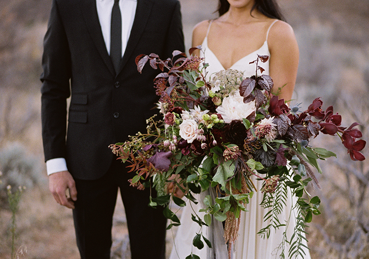 purple wedding bouquets - photo by Courtney Hanson Photography https://ruffledblog.com/moody-romantic-zion-national-park-wedding-ideas