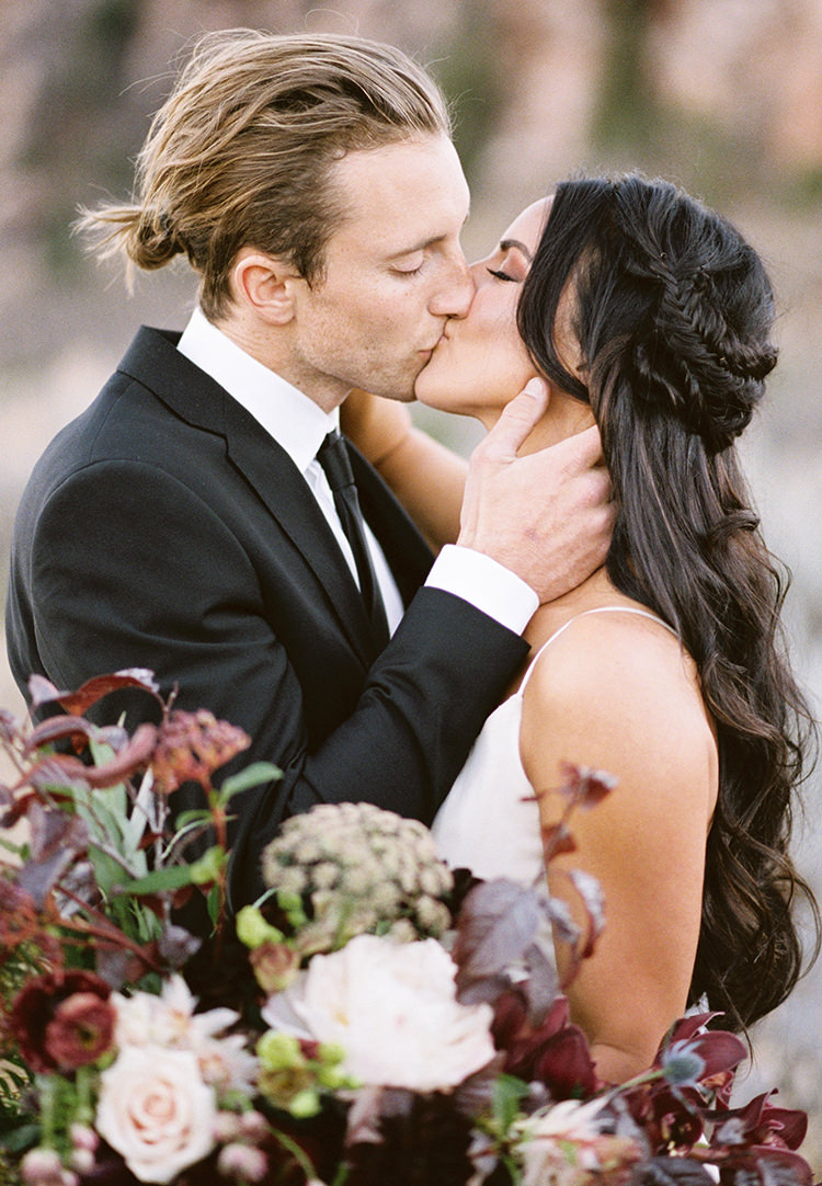wedding portraits - photo by Courtney Hanson Photography https://ruffledblog.com/moody-romantic-zion-national-park-wedding-ideas