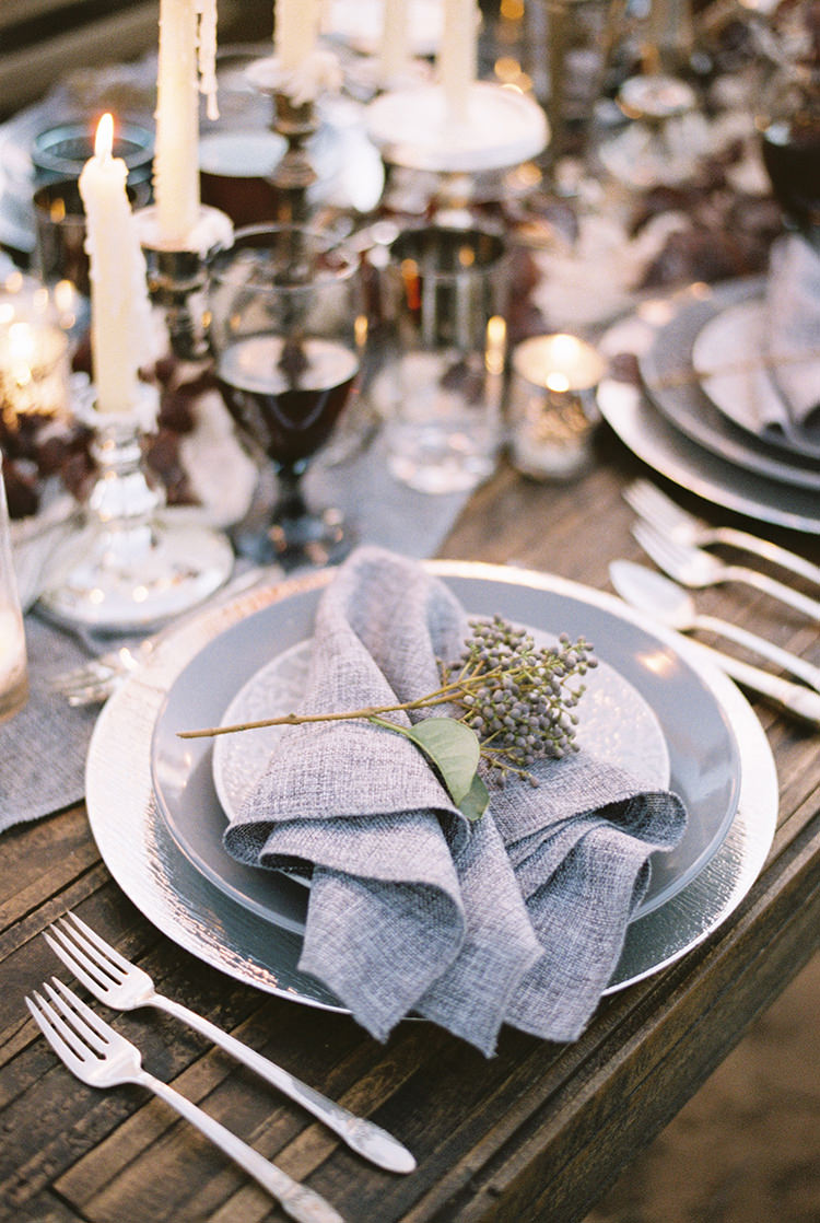 grey place settings - photo by Courtney Hanson Photography http://ruffledblog.com/moody-romantic-zion-national-park-wedding-ideas