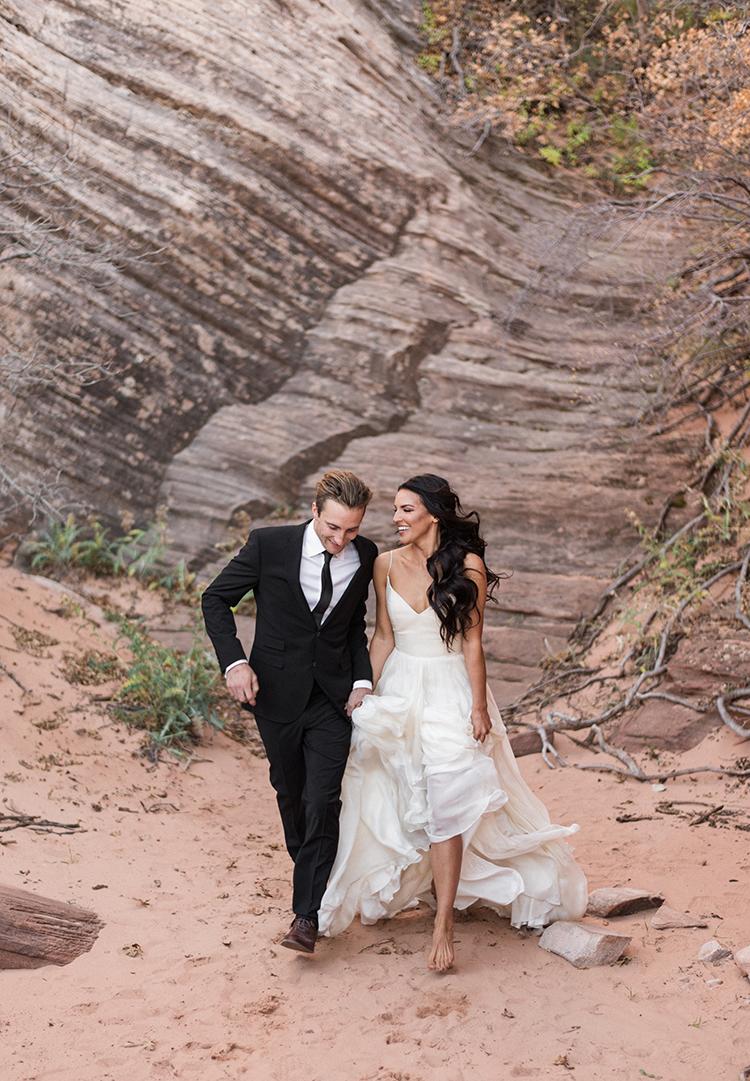 wedding photography - photo by Courtney Hanson Photography https://ruffledblog.com/moody-romantic-zion-national-park-wedding-ideas