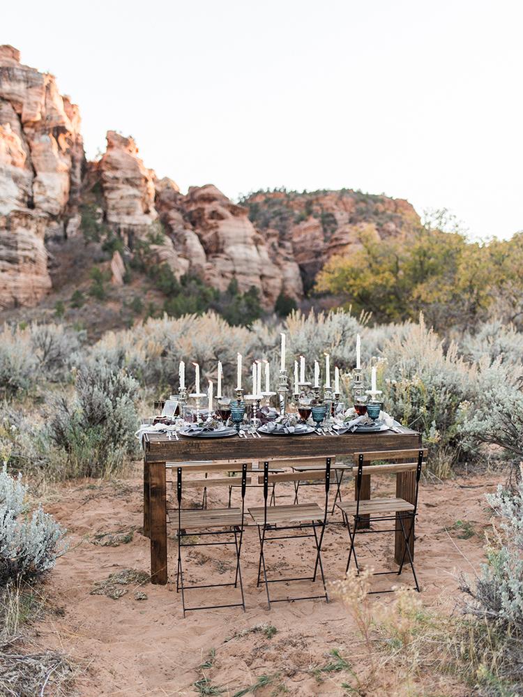 wedding tables - photo by Courtney Hanson Photography https://ruffledblog.com/moody-romantic-zion-national-park-wedding-ideas