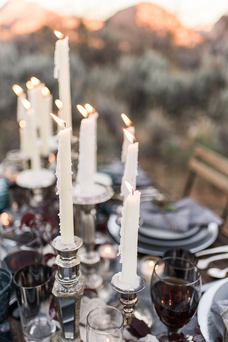 wedding candle centerpieces - photo by Courtney Hanson Photography http://ruffledblog.com/moody-romantic-zion-national-park-wedding-ideas