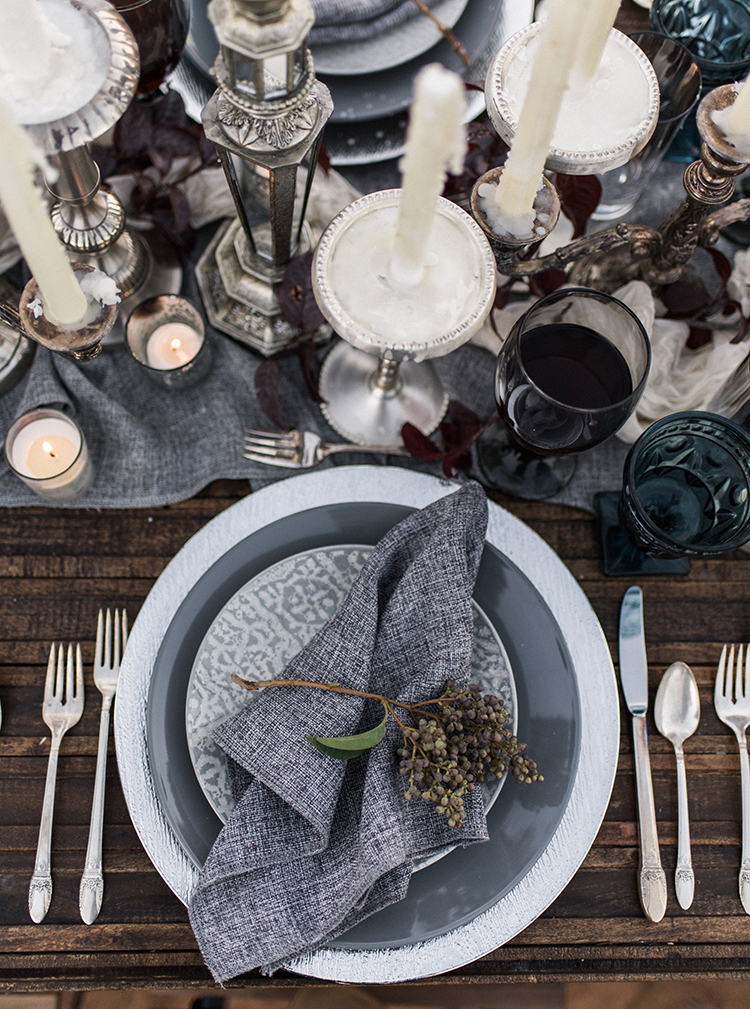 grey place settings - photo by Courtney Hanson Photography https://ruffledblog.com/moody-romantic-zion-national-park-wedding-ideas