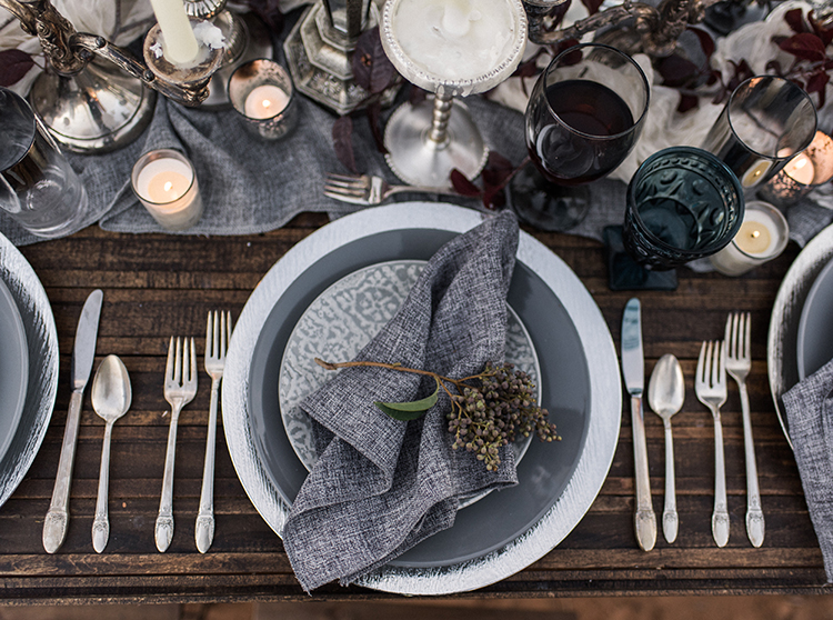 modern place settings - photo by Courtney Hanson Photography http://ruffledblog.com/moody-romantic-zion-national-park-wedding-ideas