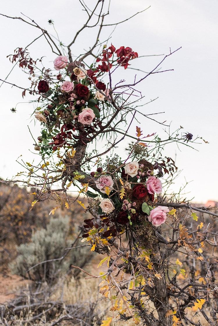 wedding flowers - photo by Courtney Hanson Photography https://ruffledblog.com/moody-romantic-zion-national-park-wedding-ideas