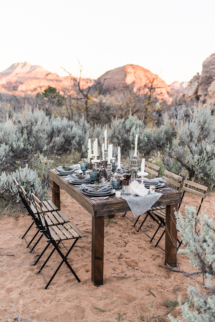wedding reception tables - photo by Courtney Hanson Photography http://ruffledblog.com/moody-romantic-zion-national-park-wedding-ideas