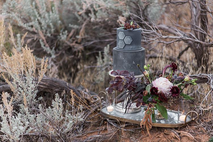 gray wedding cakes - photo by Courtney Hanson Photography https://ruffledblog.com/moody-romantic-zion-national-park-wedding-ideas