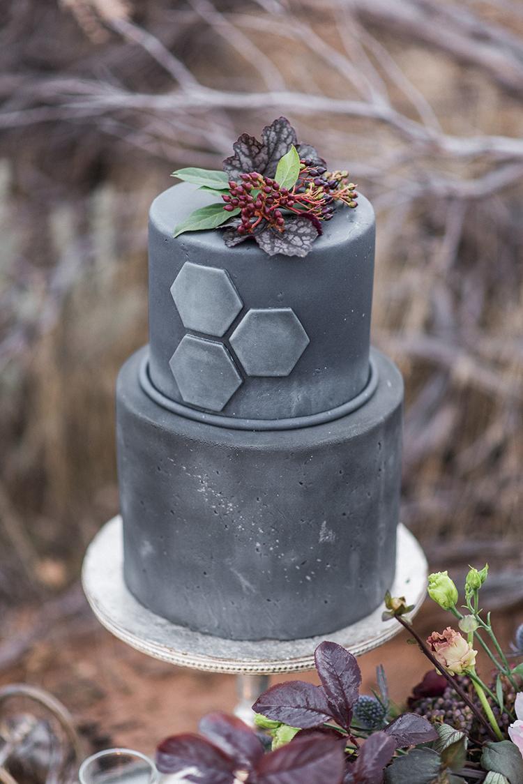 grey wedding cakes - photo by Courtney Hanson Photography https://ruffledblog.com/moody-romantic-zion-national-park-wedding-ideas