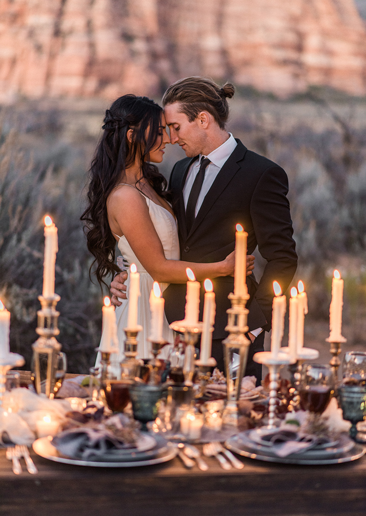 dramatic wedding inspo - photo by Courtney Hanson Photography http://ruffledblog.com/moody-romantic-zion-national-park-wedding-ideas