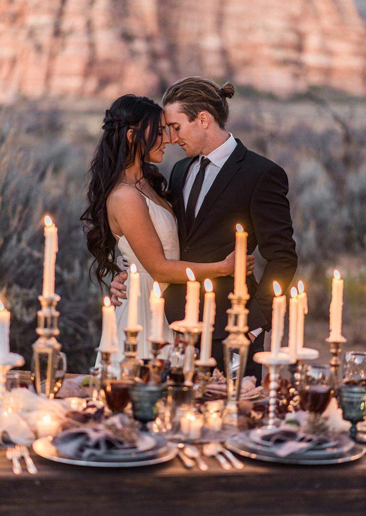 dramatic wedding inspo - photo by Courtney Hanson Photography https://ruffledblog.com/moody-romantic-zion-national-park-wedding-ideas