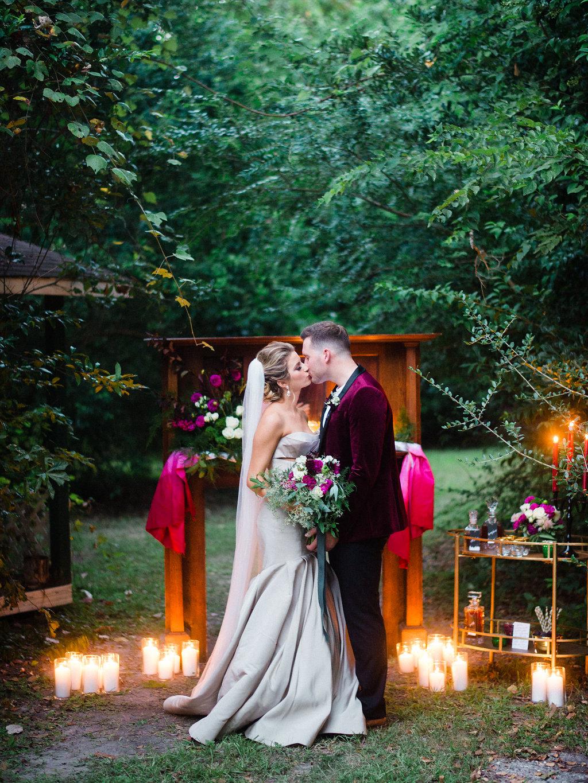 woodland wedding inspiration - photo by Awake Photography https://ruffledblog.com/moody-woodland-romance-wedding-editorial