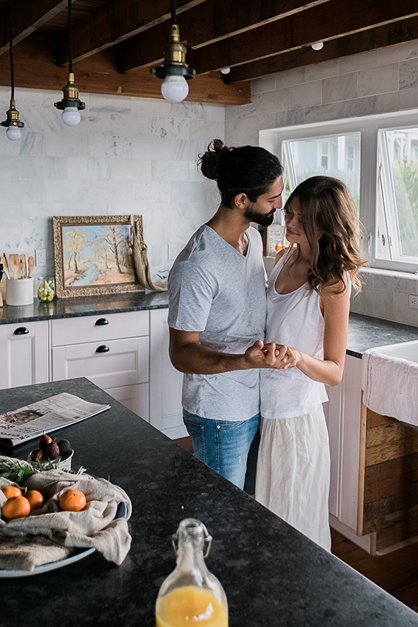 Sexy Morning Breakfast Engagement Session
