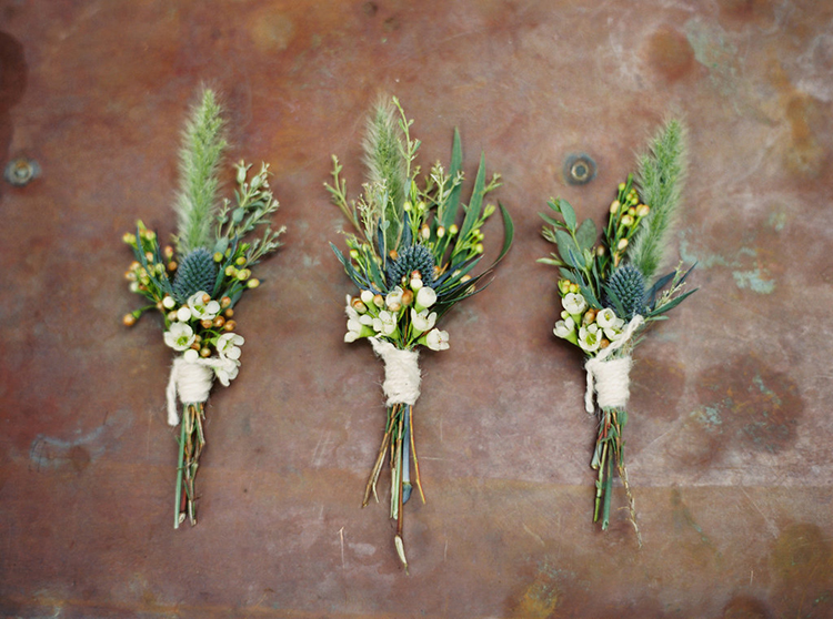 simple boutonnieres - photo by Greer Gattuso https://ruffledblog.com/new-orleans-wedding-with-the-cutest-woodland-details